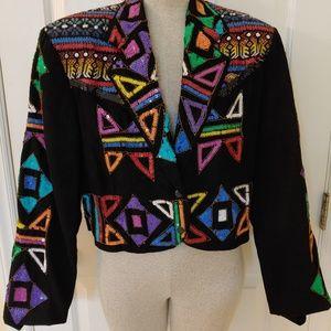 Vintage Modi Sequin Embroidered Jacket Blazer sz L